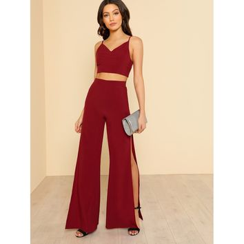 Crop Cami Top & High Slit Pants Co-Ord