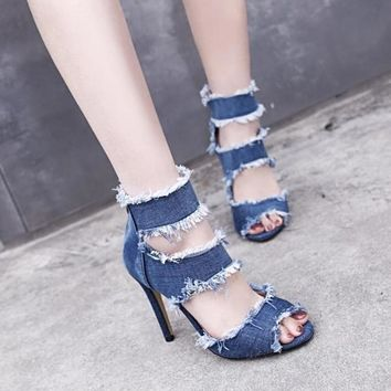 Thin High Heel Shoes Ankle Boots Denim Peep Toes Sandals Womens Summer Pumps