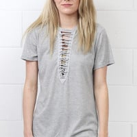 Short Sleeve Lace Up Insert Ribbed Top {Grey} Extended Sizes