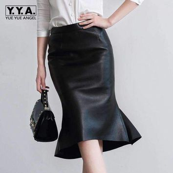 ONETOW 2018 New Fashion Sexy OL Style Formal Ruffles Trumpet Knee Length Genuine Leather Women Female Skirts Sheepskin Black Plus Size
