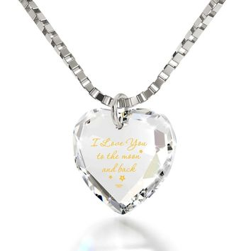 """""""I Love You to the Moon and Back"""", 925 Sterling Silver Necklace, Swarovski"""