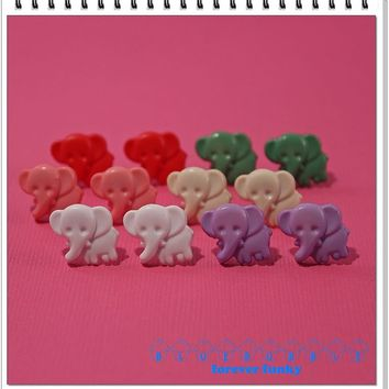 FUNKY ELEPHANT EARRINGS CUTE KITSCH RETRO ANIMALS ZOO SWEET POP KAWAII VINTAGE
