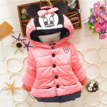 Trendy Minnie Jacket Kids Cotton Warm Winter Coat Chirdren Character Lovely Thick Hoodies Outerwear AT_94_13