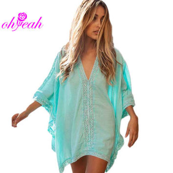 brand new beach wear blue loose breathable beach cover-ups dress summer ladies fashion style beach cover up