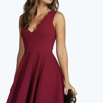 Vivy Scallop Plunge Skater Dress