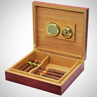 Brown Cedar Lined Travel Cigar Humidor with Humidifier Hygrometer