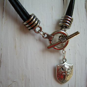 Mens  Leather Necklace - Double Strand Silver  / Black With Free Lobster Clasp Pendant