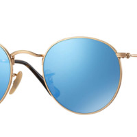 Ray Ban Round Metal Sunglass Gold with Blue Mirrored Lenses RB3447N 001/9o