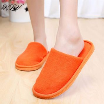 THINKTHENDO Women House Indoor Slippers Home Anti-slip Shoes Soft Warm Cotton Sandal  Size 36 to 40