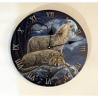 Lisa Parker Two Wolves Wall Clock - Spencer's