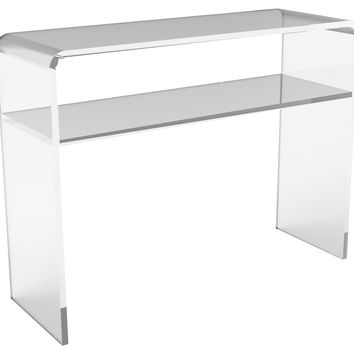 Console Waterfall  Table w/ Shelf, Small, Acrylic / Lucite,