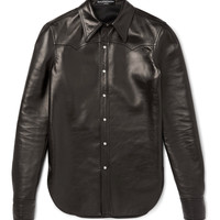 Balenciaga - Slim-Fit Leather Western Shirt
