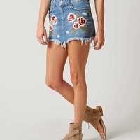 FREE PEOPLE WILD ROSE DENIM SKIRT