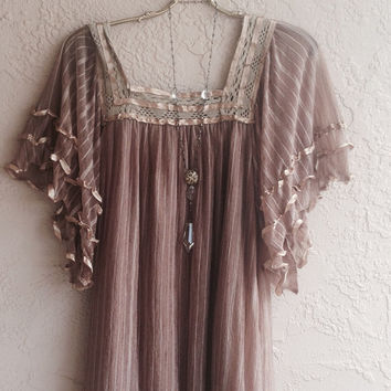 Mocha lace Mexican Peasant cape sleeves  ribbon tunic bohemian gypsy hippie beach coachella