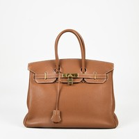 "Hermes ""Gold"" Tan Evergrain Leather ""Birkin"" 35 cm Satchel Bag"