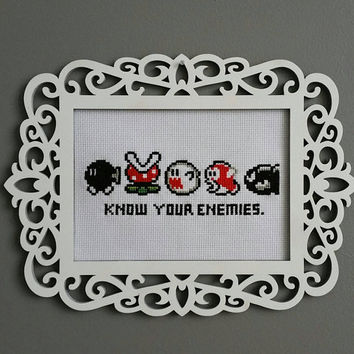 NINTENDO Super Mario Original Cross Stitch (Know Your Enemies) FRAME INCLUDED