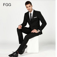 Men's Black Work Wear Business Formal Suit Set Men Wedding Groom Suit Bestman Single Breasted Suits Terno Masculino Casamento