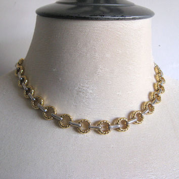 Vintage Nina RICCI 80s Necklace Gold Silver Tone Textured Circle Bar Designer Jewelry Choker