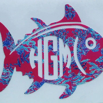 Lilly Pulitzer Inspired Monogrammed Skipjack Decal