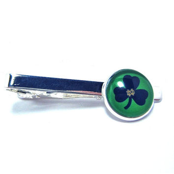 Tie Clip Tie Bar Notre Dame Shamrock Logo In Jewelry Box-Gift For Men