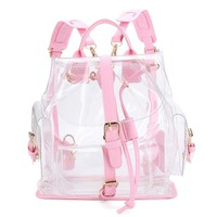 NEW mochila Women's Clear Plastic See Through Security Transparent Backpack Bag Travel Bag Casual  1 pcs Drop Shipping #0626