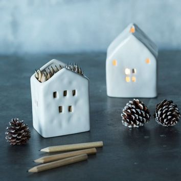House Pencil Holder - White