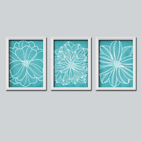 Turquoise BATHROOM Wall Art BATHROOM Artwork BATHROOM Prints Girl Bedroom Wall Art Flower Dahlia Wall Decor Set of 3 Home Decor