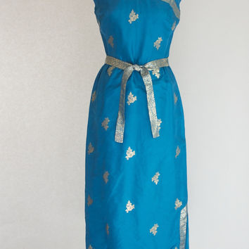 60s Silk Cheongsam Dress