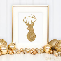 Deer print, Christmas gold glitter wall art printable, Antler print, Holiday decor (Printable wall art decor - Instant download - JPG)