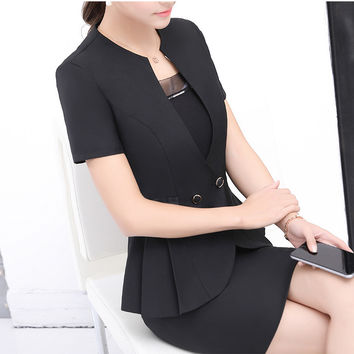 Plus Size Black Gray Skirt Suits Fashion Summer Style 2017 Women Business Suits Formal Office Suits Work wear Elegant Blazer 4XL