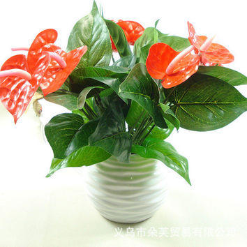 1Bunch Artificial Flower Fake Anthurium Bouquet Wedding Arrangement Christmas Home Decoration 4 Colors