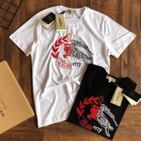 Burberry 2019 new men's embroidery horse casual wild round neck T-shirt