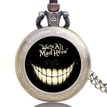 We're All Mad Here Pocket Watch Charm Necklace