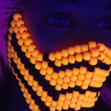 Scorpion Mortal Kombat Kandi Mask BLACKLIGHT REACTIVE