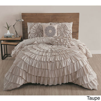 Azalee Romantic Ruffled 5 PC Comforter Bedding Set