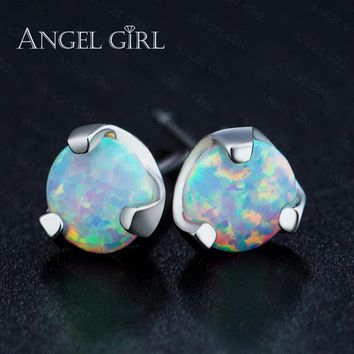 Angel girl High Quality Fire Opal Stud Earrings 1CT white gold Color fashion shiny lady stud earrings jewelry allergy free 6.5mm