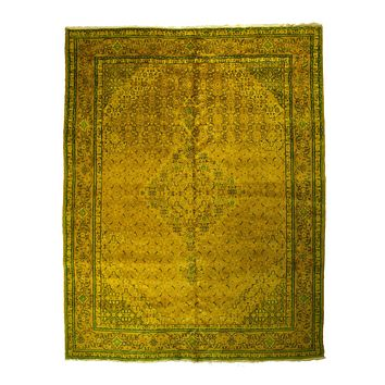 10x13 Overdyed Oriental Area Rug Gold Green Rug 2534