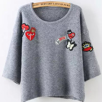 Grey Badge Half Sleeve Knit Cropped Sweater
