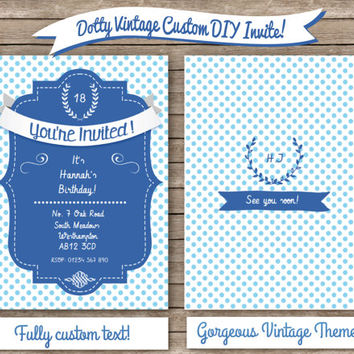 DIY Quirky Vintage Birthday Invitation DIGITAL