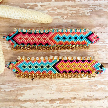 OOAK Colorful Woven Friendship Bracelet with Rhinestones and Gold Plated Chain | Bohemian Bracelet | Boho Chic | Festival | Great Gift