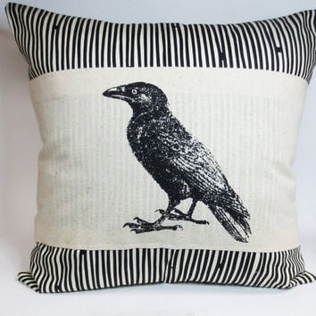 Raven accent pillow cover crow screen print pillow cover - Mod Bold Black and Ivory Stripe