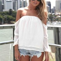 White Off The Shoulder Chiffon T-shirt Top from alanchen