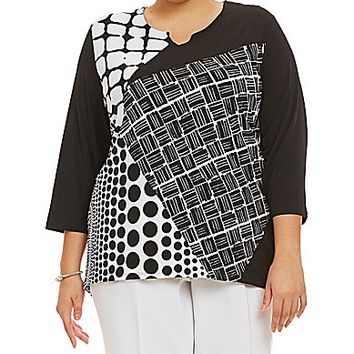 Allison Daley Plus Patch-Print Tunic - Patch