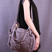 Valentine's Day Sale-Ready To Ship-New-Purple Taupe Shoulder/messenger/diaper tote bag/laptop bag/purse/For Her/For Him-061