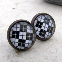 Argyle Post Earrings - Black and White Series - Plaid Squares and stripes