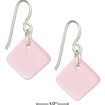 Sterling Silver Blushing Pink Square Sea Glass Earrings