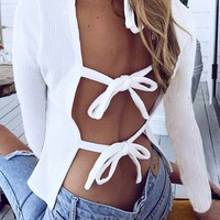 White Round Neck Tie Strap Back Long Sleeve T-Shirt