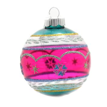 Shiny Brite Vc Decorate Rounds W/Reflector Glass Ornament