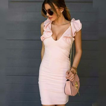 Slim Summer Women's Fashion Sexy V-neck Sleeveless One Piece Dress [10351481799]