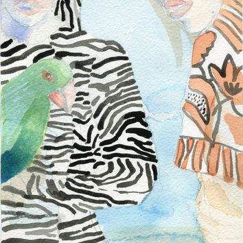 THE PARROTT - Original Watercolour Paintng - Modern Art - Contemporary Art - Fashion Style